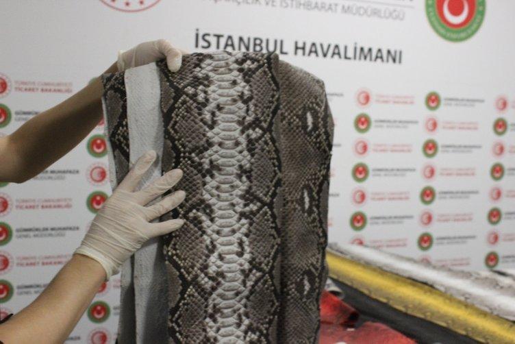 istanbul havalimaninda ele gecirilen yilan derilerinin degeri 320 bin tl 1568200950469