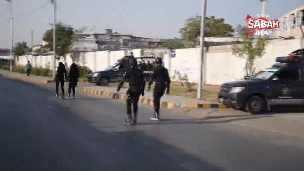 Pakistan'da suça karşı patenli polis ekibi | Video