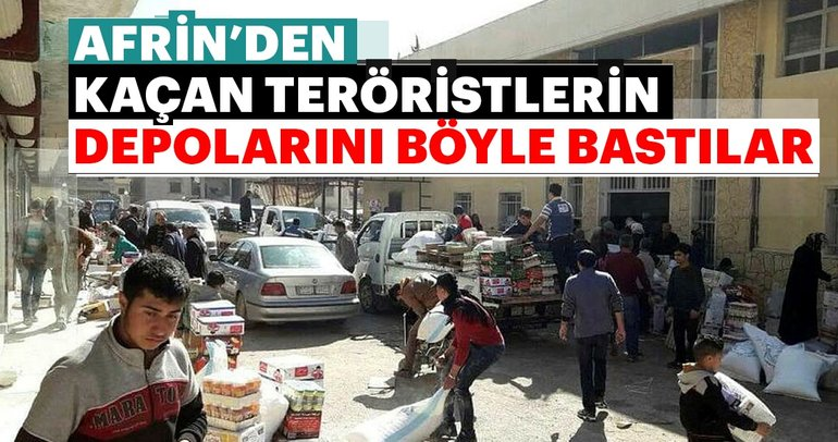 Afrin'de halk PYD'nin gıda deposunu bastı