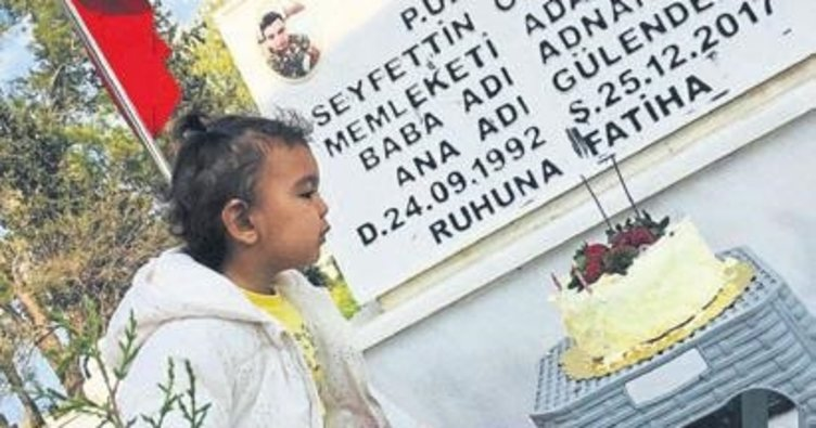 Doğum gününü babasının mezar başında kutladı