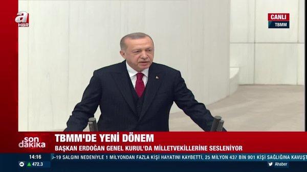 Son dakika: Cumhurbaşkanı Erdoğan'danTBMM'de 27'nci dönem 4'üncü yasama yılı açılışında flaş açıklamalar | Video