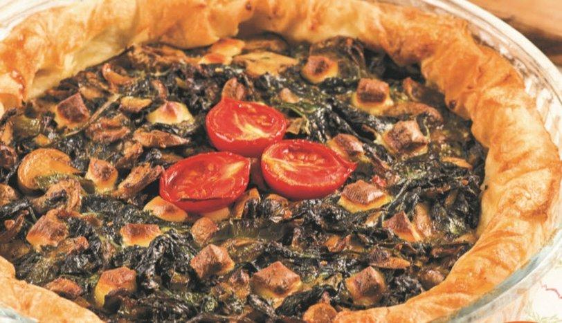 Mantarlı Ispanaklı Açık Börek