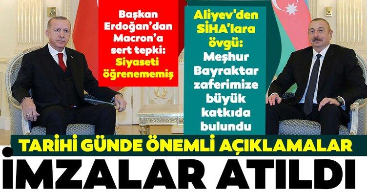 SON DAKİKA HABERİ - Başkan Erdoğan ve Aliyev'in görüşmesinin ardından anlaşmalar imzalandı! Başkan Erdoğan ve Aliyev'den flaş açıklamalar