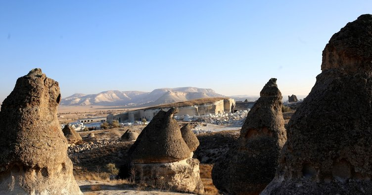 Kapadokya'daki kayadan oyma yer altı müzesinde sona yaklaşıldı