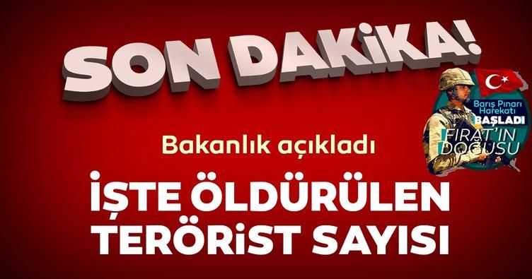 MSB'den son dakika Barış Pınarı Harekatı açıklaması geldi! Öldürülen terörist sayısı açıklandı...