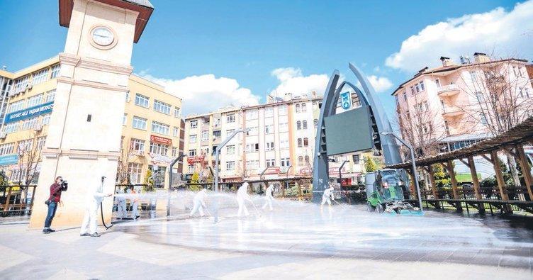 Akyurt'ta vatandaşlara el dezenfektanı