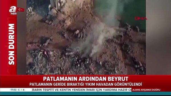 Son dakika: Beyrut'taki patlamanın geride bıraktığı yıkım havadan görüntülendi | Video