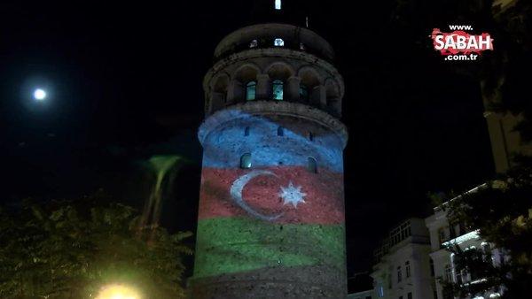 Azerbaycan Bayrağı Galata Kulesi'ne yansıtıldı   Video