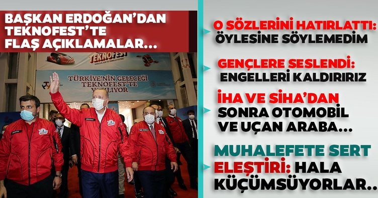 SON DAKİKA: Başkan Recep Tayyip Erdoğan TEKNOFEST'te: Hedefimiz otomobil ve uçan araba...