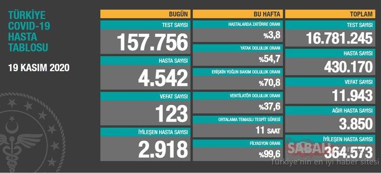 SON DAKİKA - 20 Kasım 2020 Türkiye'de koronavirüs vaka ve ölü sayısı kaç oldu? 20 Kasım korona tablosu! Sağlık Bakanlığı günlük son durum tablosu