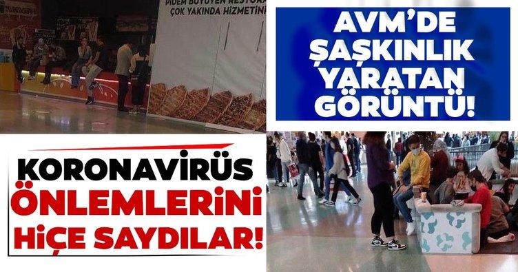 İzmir'de şaşırtan görüntü! AVM'de koronavirüs önlemlerini hiçe saydılar