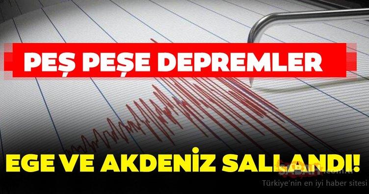 Son dakika: Ege Denizi ve Akdeniz'de peş peşe deprem! (12 Ekim) Kandilli Rasathanesi ve AFAD son depremler güncel liste!