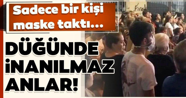 İzmir'de inanılmaz görüntü! Düğünde sadece 1 kişi maske taktı!