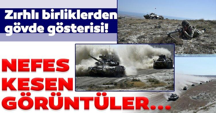 Azerbaycan Savunma Bakanlığı duyurdu! Türkiye ve Azerbaycan'dan gözdağı! Zırhlı birliklerden gövde gösterisi...