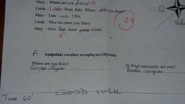 Öğrencilerin güldüren sınav cevapları