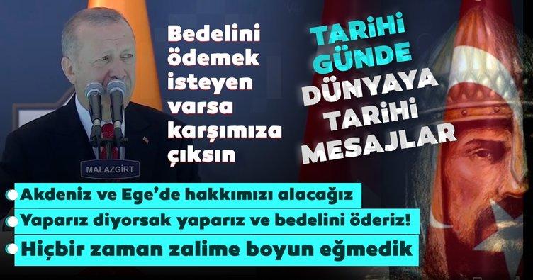 SON DAKİKA HABERİ... Malazgirt Zaferinin 949. yılında Başkan Erdoğan konuştu: Muhataplarımız kendini mahvetmesin!