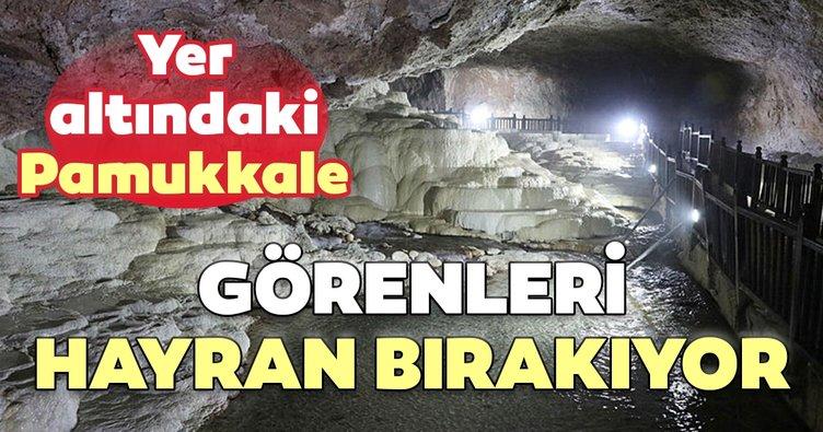 Yer altındaki Pamukkale görenleri hayran bırakıyor