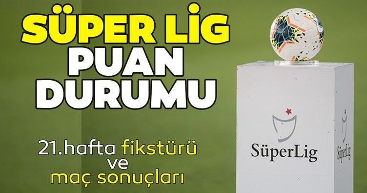Süper Lig Puan Durumu! 21 Ocak TFF güncel Süper Lig puan durumu tablosu ve 21. Hafta fikstürü ile maç sonuçları burada