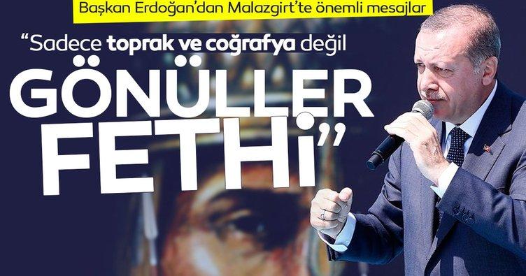 Başkan Erdoğan Malazgirt'te konuştu: Kimse kararlılığımızı test etmesin