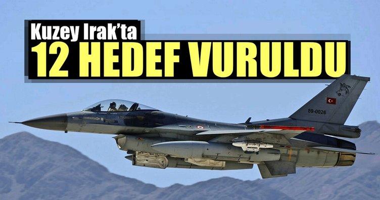 Kuzey Irak'ta 12 hedef vuruldu