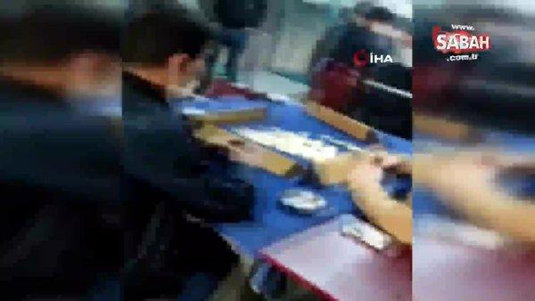 Hamburgerci dükkanında okey masasına baskın kamerada | Video