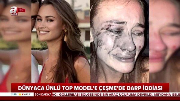 İzmir Çeşme'de plajda dünyaca ünlü Top Model Daria Kyryliuk'a feci dayak | Video