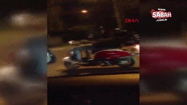 Bursa'da motosikleti sırtüstü yatarak süren trafik magandası kamerada | Video