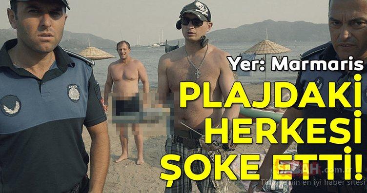 Marmaris'te halk plajında şoke eden olay! Turistin savunması şaşırttı...