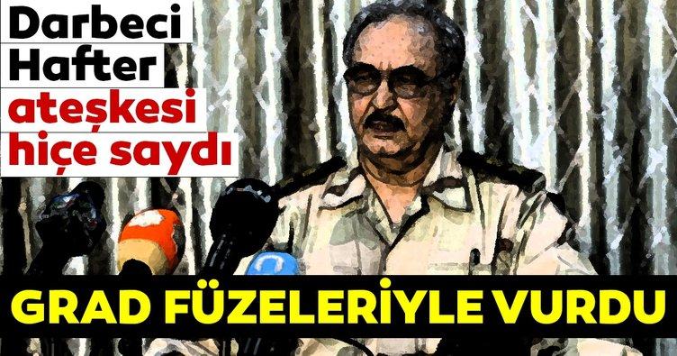Son dakika: Darbeci Hafter ateşkesi hiçe saydı! Hafter milisleri Mitiga Havalimanı'nı grad füzeleriyle vurdu