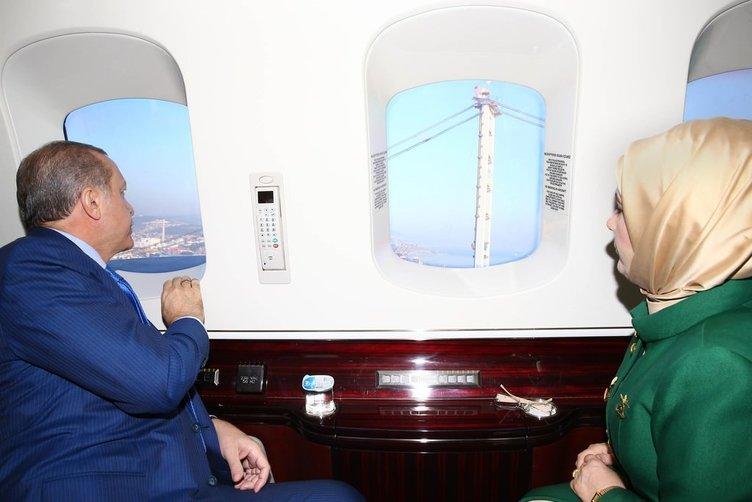Erdoğan İzmit Köprüsünü havadan inceledi