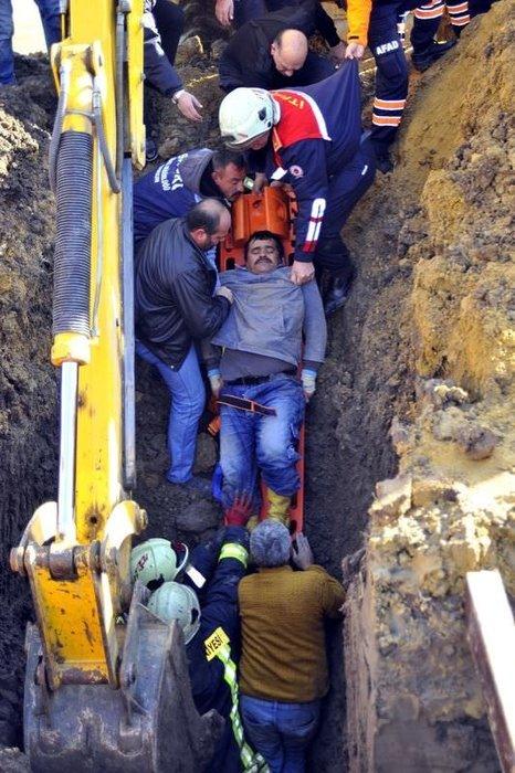 Samsun'da kanalizasyon çalışmasında göçük