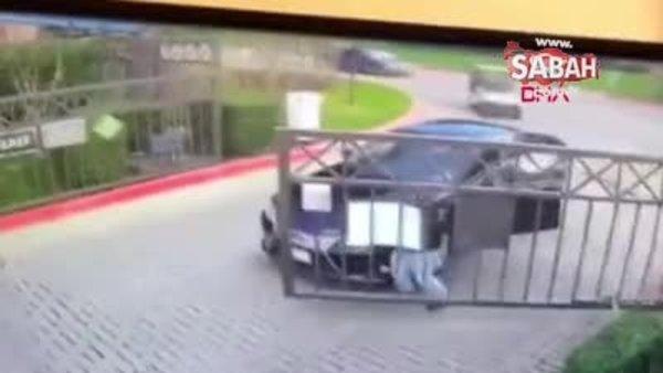 Çaresiz sürücünün demir kapılarla güldüren mücadelesi!