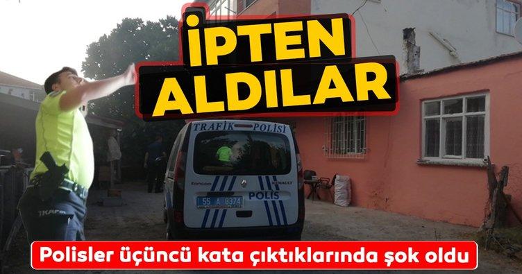 Samsun'un Alaçam ilçesinde kendini iple asan şahsı polisler son anda kurtardı