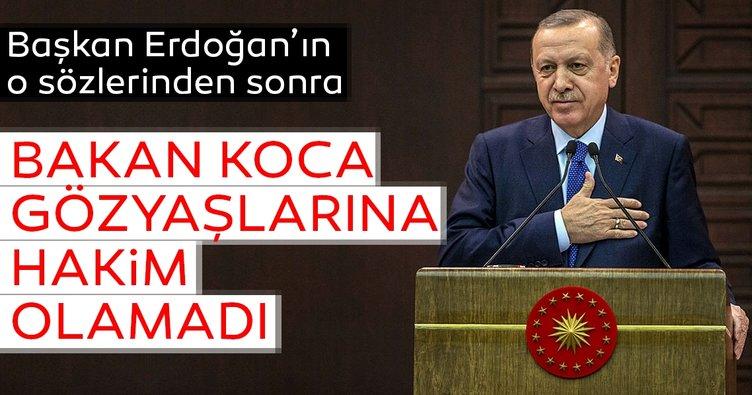 Başkan Erdoğan'ın o sözleri sonrası Bakan Koca gözyaşlarını tutamadı
