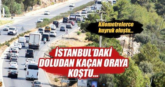 İstanbul'da doludan kaçan Bodrum'a koştu!
