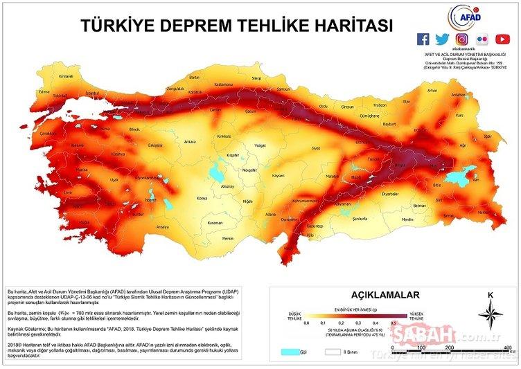 Son Dakika Haberi… Türkiye deprem haritası: AFAD ile Türkiye deprem tehlike haritası ve fay hatları geçen şehirler