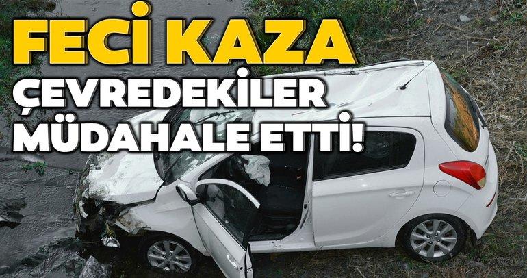 Feci kaza! Dereye düşen otomobildeki 2 öğretmen ağır yaralandı