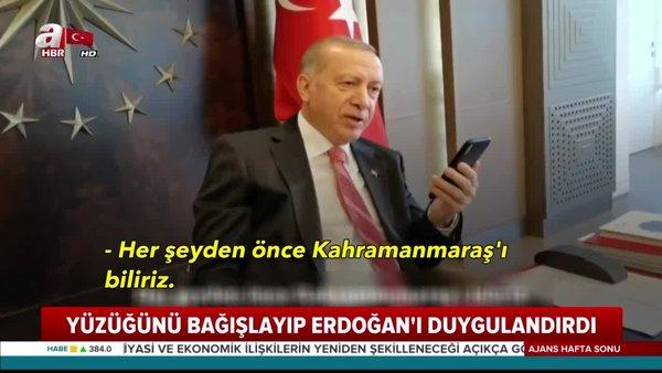Son dakika: Cumhurbaşkanı Erdoğan'dan yüzüğünü bağışlayan Mukadder Öksüz'e  duygulandıran hediye   Video