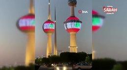 Kuveyt kuleleri Lübnan bayrağının renkleriyle ışıklandırıldı | Video