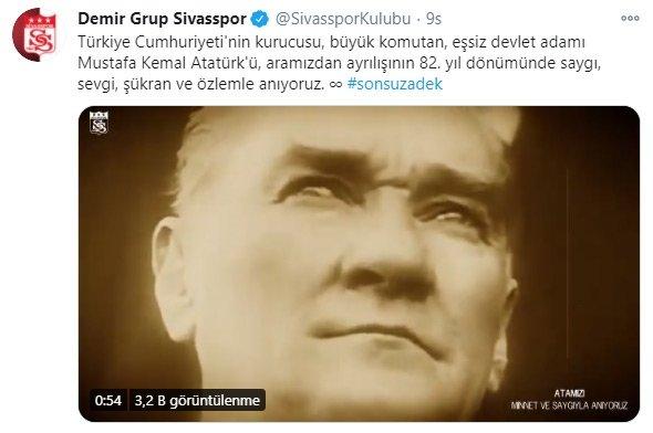 Spor camiası 10 Kasım'da Atatürk'ü andı! İşte paylaşımlar...