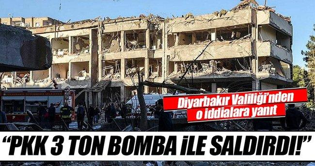 Diyarbakır Valiliği: Saldırıyı 'Kemal' kod adlı terörist PKK 3 ton bomba ile gerçekleştirdi