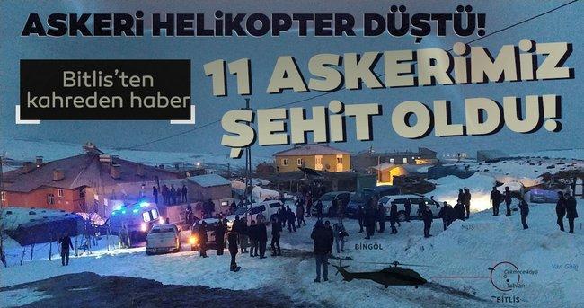 Bitlis'ten son dakika acı haber! Düşen helikopterde 11 askerimiz şehit oldu