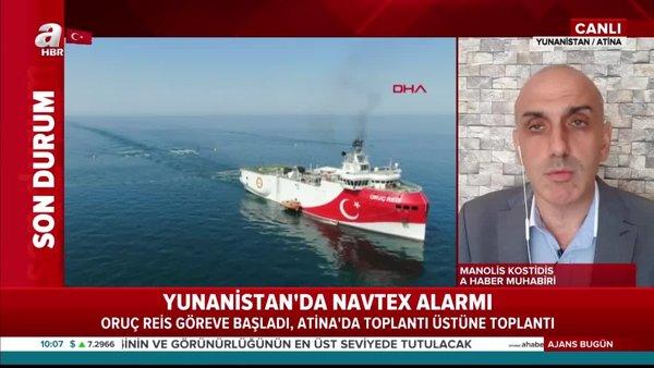 Son dakika: Yunanistan'da NAVTEX alarmı! Oruç Reis göreve başladı, Atina'da toplantı üstüne toplantı | Video