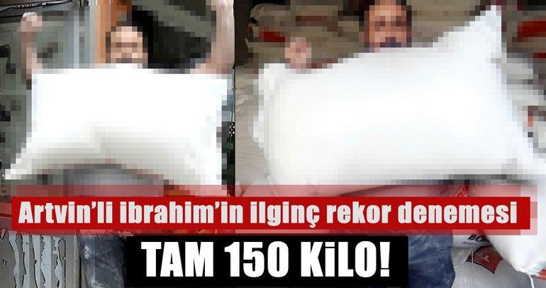 Artvin'de İbrahim Alkan, dişleri ve kollarıyla toplam 150 kiloyu kaldırdı