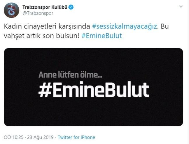Emine Bulut cinayetine spor camiasından tepki!