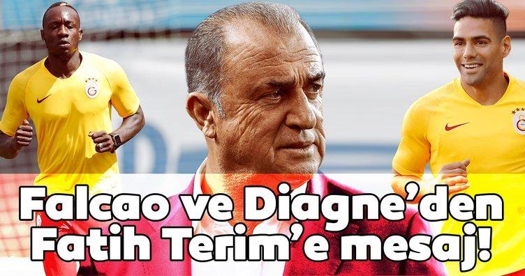 Galatasaray'ın forvetleri Falcao ve Mbaye Diagne'den Fatih Terim'e mesaj!