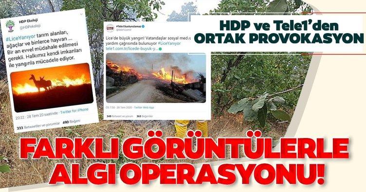 HDP ve Tele1'den Lice'deki yangında ortak provokasyon! Farklı görüntülerle algı operasyonu