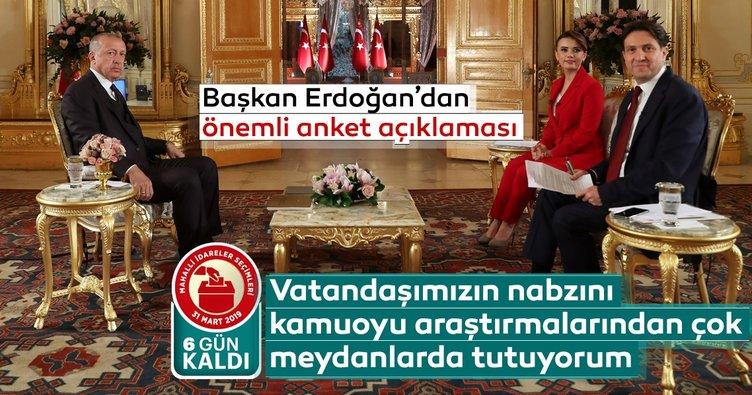 Başkan Erdoğan'dan önemli anket açıklaması