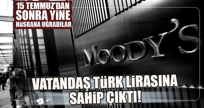 Vatandaş Moody's sonrası da Türk lirasına sahip çıktı