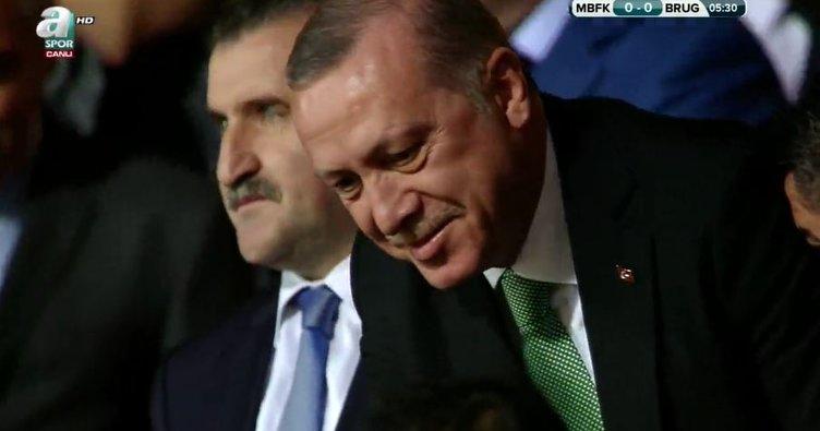 Cumhurbaşkanı Erdoğan, Başakşehir-C. Brugge Maçını İzlemeye Geldi